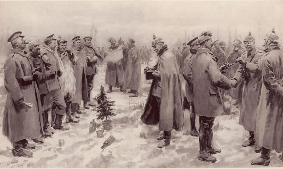 Soldiers from the British and German side interact with each other on Christmas