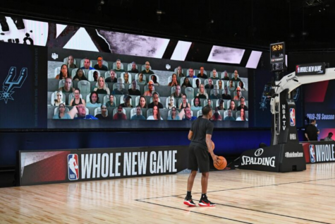 Virtual fans attend the NBA games virtually instead of in person on Aug. 10