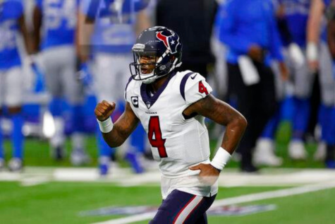 Houston Texans quarterback Deshaun Watson (4) celebrates after leading his team to a score during an NFL football game against the Detroit Lions, Thursday, Nov. 26, 2020, in Detroit. Houston won 41-25.