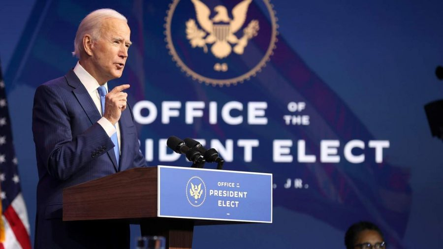 President-elect Joseph R. Biden Jr. gives a speech following the Electoral College decision on Monday