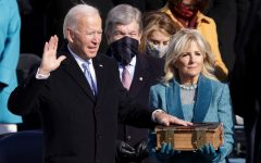 Joe Biden is sworn in as U.S. President as his wife Dr. Jill Biden looks on during his inauguration on the West Front of the U.S. Capitol on January 20, 2021 in Washington, DC.