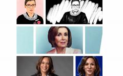 Ruth Bader Ginsburg (top), Nancy Pelosi (middle), and Kamala Harris (bottom)