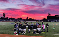 Twilight soccer at San Dieguito Academy Stadium during the 2016-2017 boys soccer season