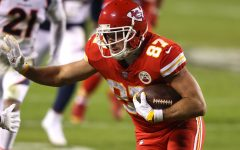Travis Kelce #87 of the Kansas City Chiefs rushes during the second quarter of a game against the Denver Broncos at Arrowhead Stadium on Dec. 06, 2020 in Kansas City, Missouri