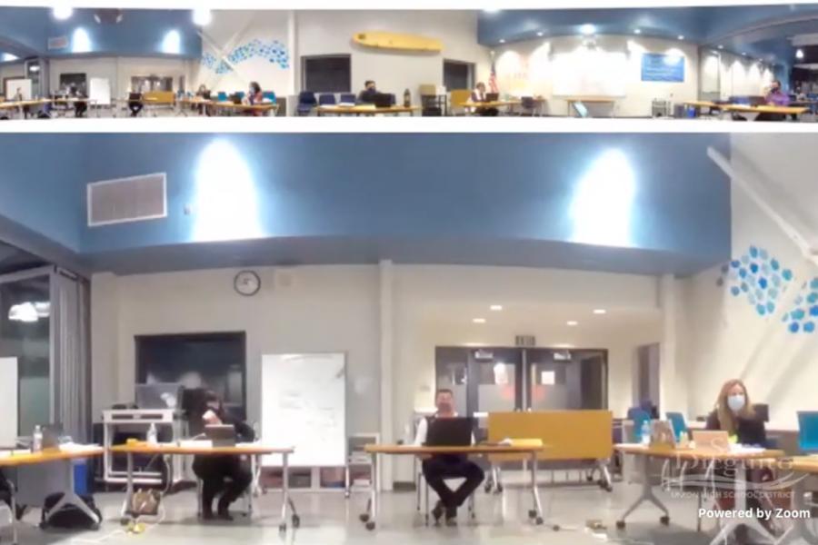 Board members discuss the following at Earl Warren Middle School on Feb. 16, 2021