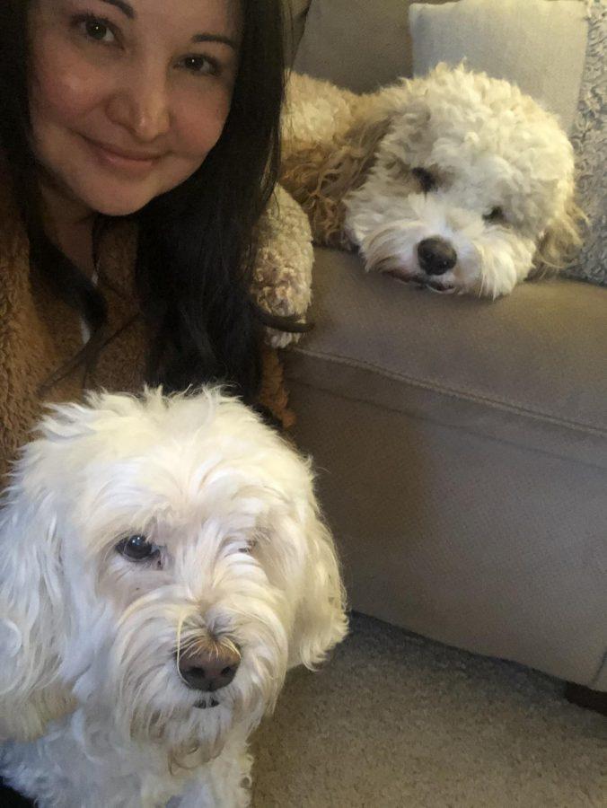 Spanish+teacher+Ivonn+Barriga+with+her+dogs+Wrigley+and+Kona