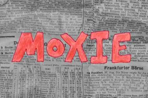 Black and white news print with the word Moxie written over it in bright red.