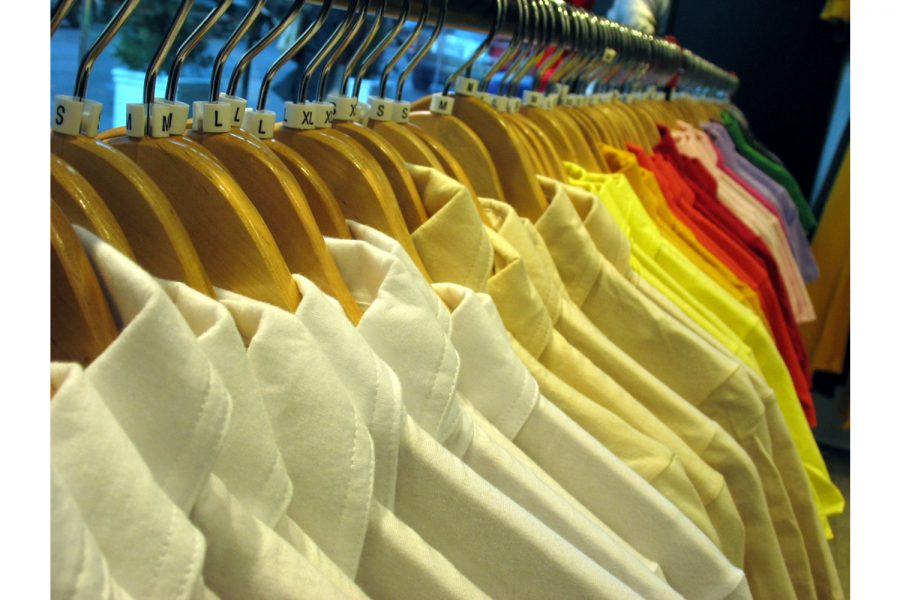 Racks of yellow shirts