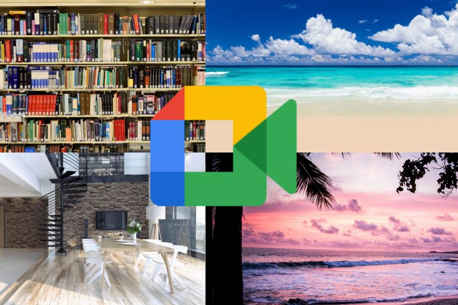 bookshelf in the left corner, beach in right corner, living room in bottom left, sunset in bottom right