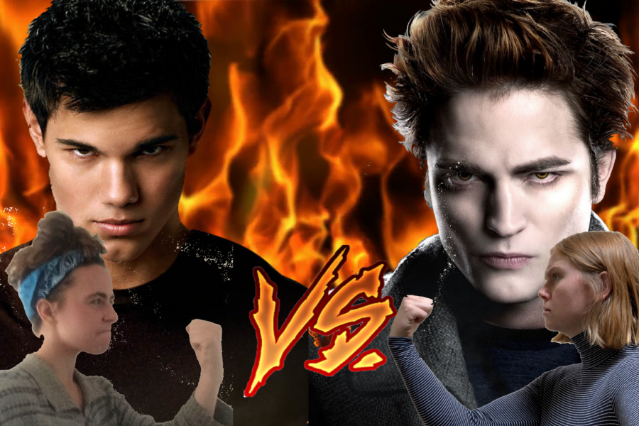 A flamey background with large Edward and Jacob images behind two dueling girls (Olivia and Kylie).