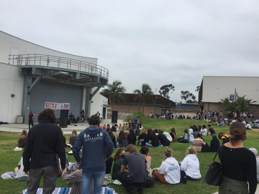 crowds of students sitting on the grass