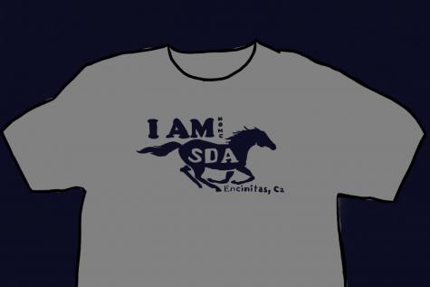 t shirt drawing with sda logo
