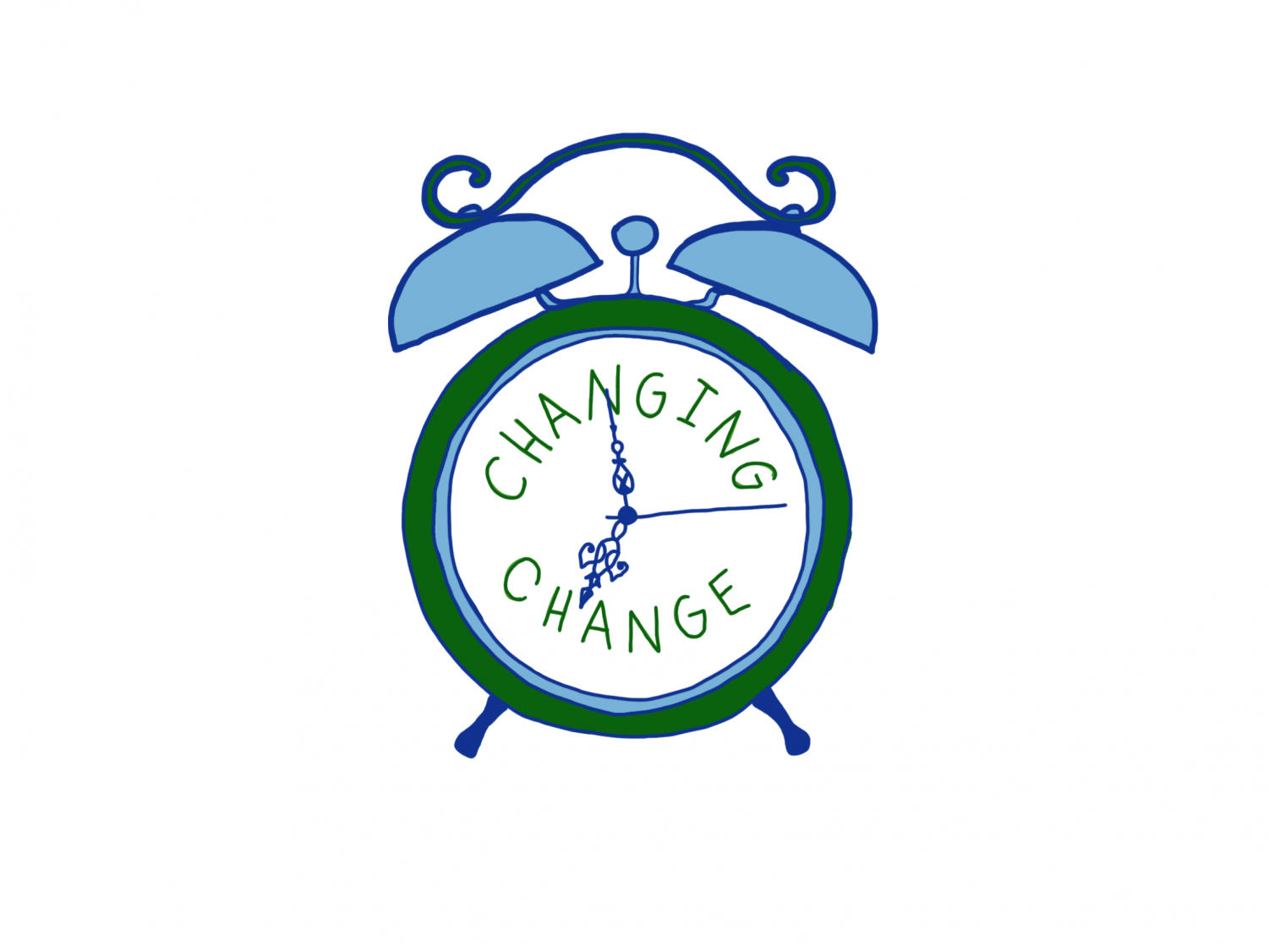 Clock with changing change