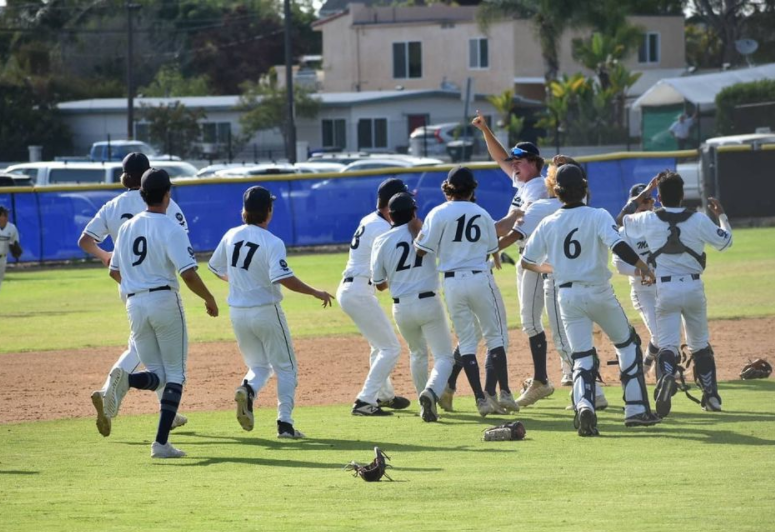 Baseball players celebrate on the Don Crickmore field