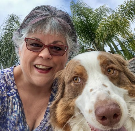 Photography teacher Susan Coppock with her dog