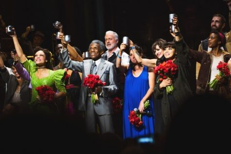The company of Hadestown celebrating their reopening.