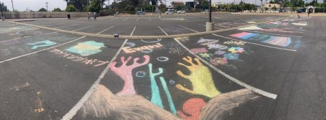 Some of the chalk art created by seniors