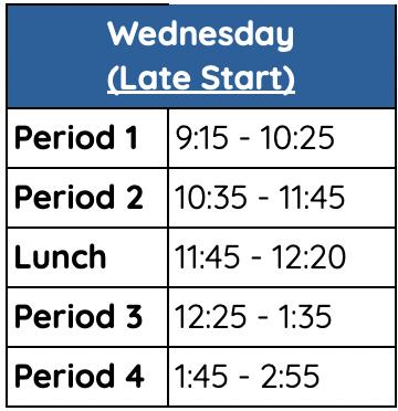 SDAs Wednesday bell schedule