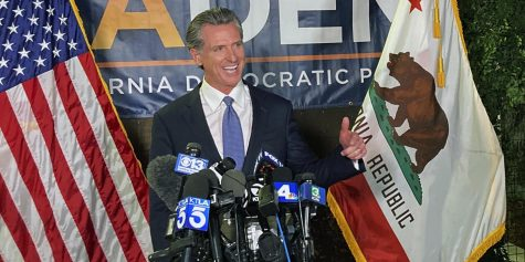 Governor Gavin Newsom gives a victory speech following the recall election