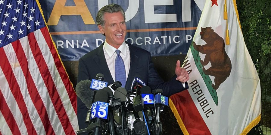 Governor+Gavin+Newsom+gives+a+victory+speech+following+the+recall+election