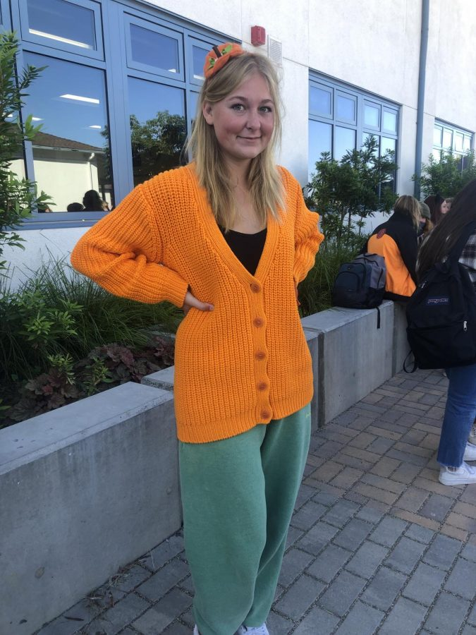 Freshman Piper Hubbard dressed as a pumpkin