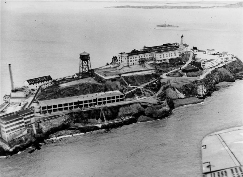 Alcatraz prison on Alcatraz Island. Courtesy of the San Francisco Examiner