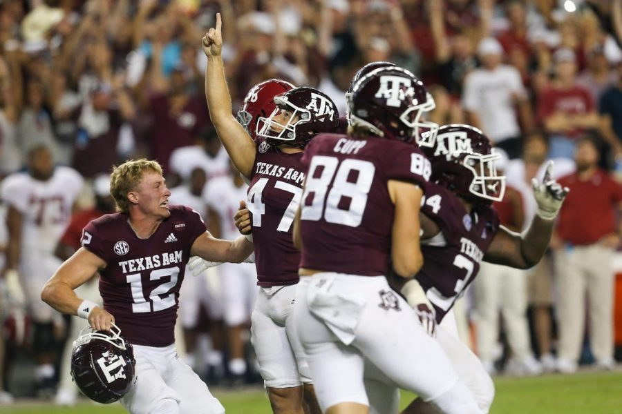 Texas A&M kicker Seth Small and other A&M Players celebrate Small's game winning field goal against Alabama on October 9, 2021.