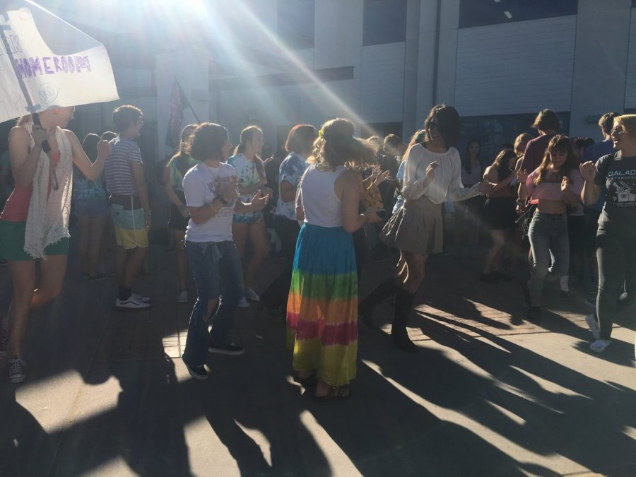 There was a psychedelic turnout of students at the dance.